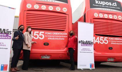 Buses Expreso Norte se une a campaña de violencia contra la mujer e instala el fono orientación 1455 en su flota